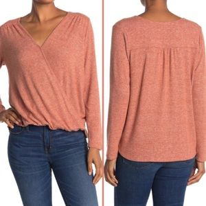 White Willow Long Sleeve Wrap Top Deep Rust